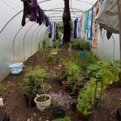 First I have to put the pots outside and bring in the washing