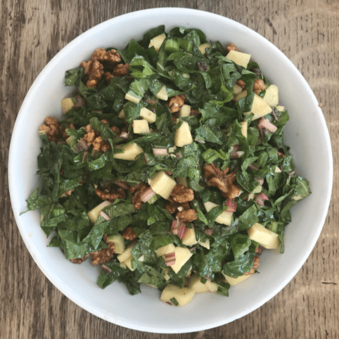 Chard, apple, walnut and celery salad