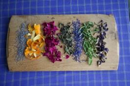 5.33: selection of tea ingredients: lavender, orange peel, rose, mint, cornflower, lemon verbena, blue butterfly pea