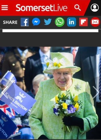 Queen arriving at Kings School, posy by our local flower shop lady. Photo from Somerset Live on Facebook