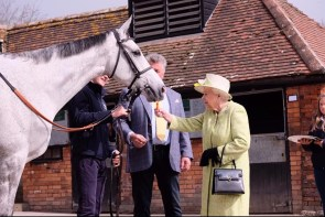 Queen feeding a carrot to one of Paul Nicholls horses. Photo Royal Family Facebook page
