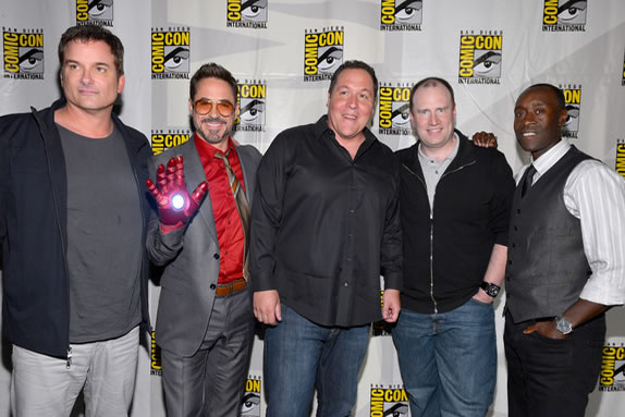 "SAN DIEGO, CA - JULY 14: (L-R) Director Shane Black, actors Robert Downey Jr., Jon Favreau, producer Kevin Feige, and actor Don Cheadle arrive at the ""Iron Man 3"" panel with Marvel Studios during Comic-Con International 2012 at San Diego Convention Center on July 14, 2012 in San Diego, California. (Photo by Alberto E. Rodriguez/WireImage) *** Local Caption *** Shane Black; Robert Downey Jr.; Jon Favreau; Kevin Feige; Don Cheadle"
