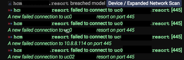 El escaneo de la red (se han borrado los nombres de los dispositivos)