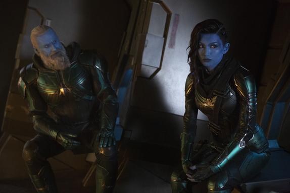 Marvel Studios' CAPTAIN MARVEL..L to R: Bron-Char (Rune Temte) and Minn-Erva (Gemma Chan)..Photo: Chuck Zlotnick..©Marvel Studios 2019