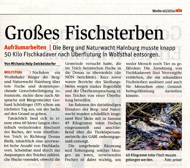 NÖN berichtet über Räumung der Fischkadaver in Wolfsthal