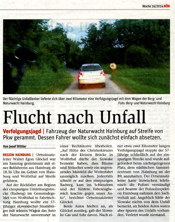 NÖN Bericht über Unfall und Fahrerflucht zum Nachteil der OEL Hainburg