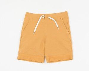 bermuda-ocher yellow-slanted-side pockets-waist-adjustable-drawstring