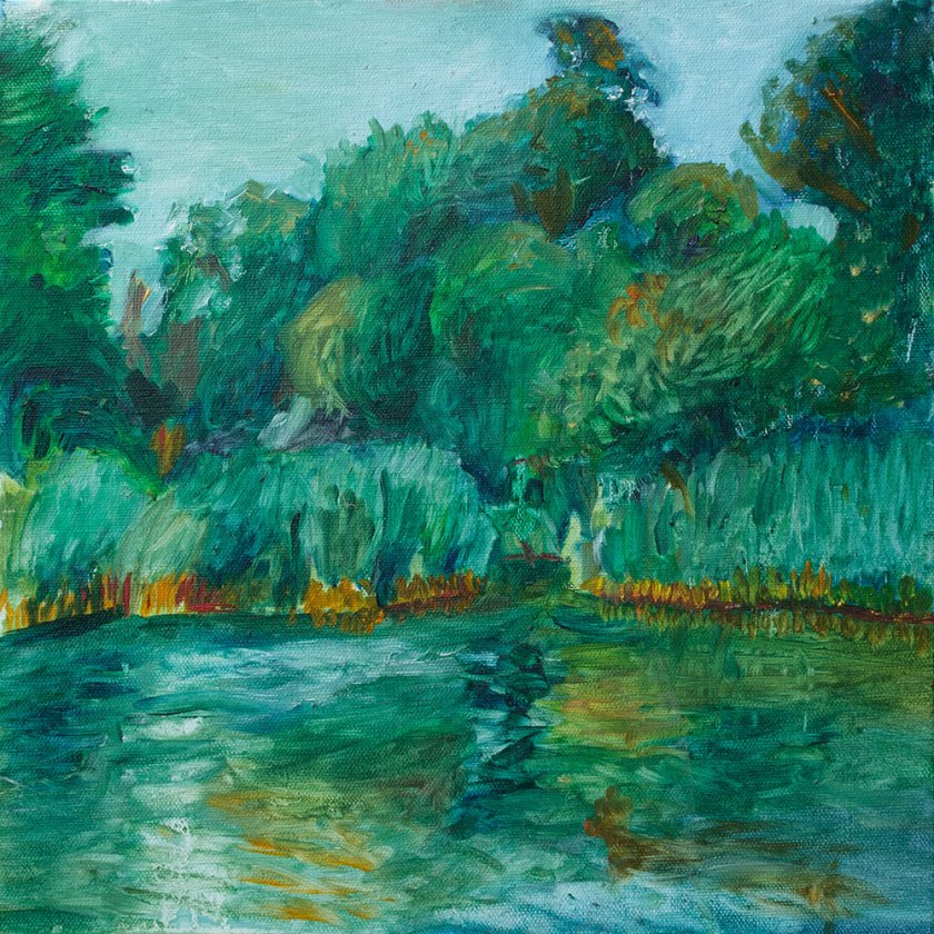 oil painting of the lake in prospect park by noel hefele