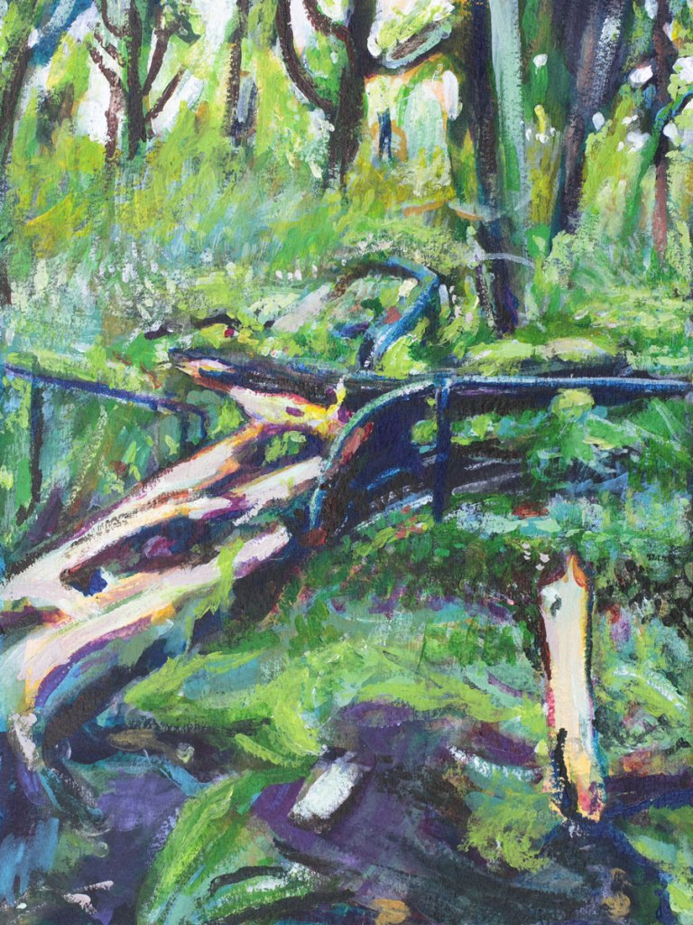 Acrylic Painting of fallen tree in Prospect Park, By Noel Hefele