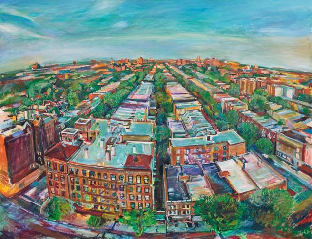 Painting by Noel Hefele of flatbush Brooklyn