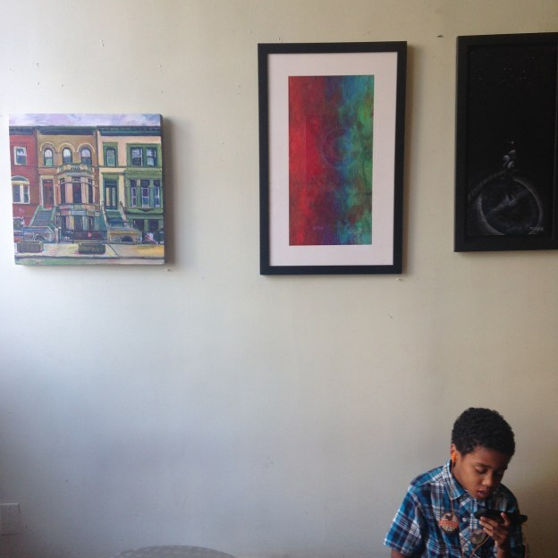 noel hefele painting at the friends of otto neals tugboat tea artshow