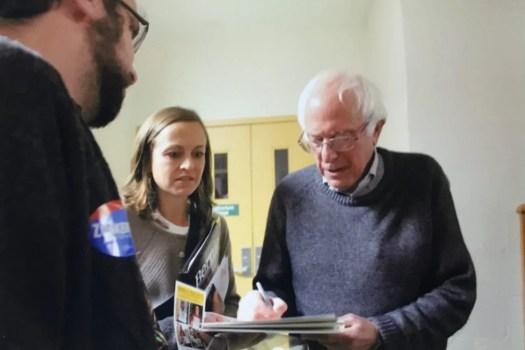 Bernie Sanders signs Noel Hefele Print. Ian Hefele gave it to him