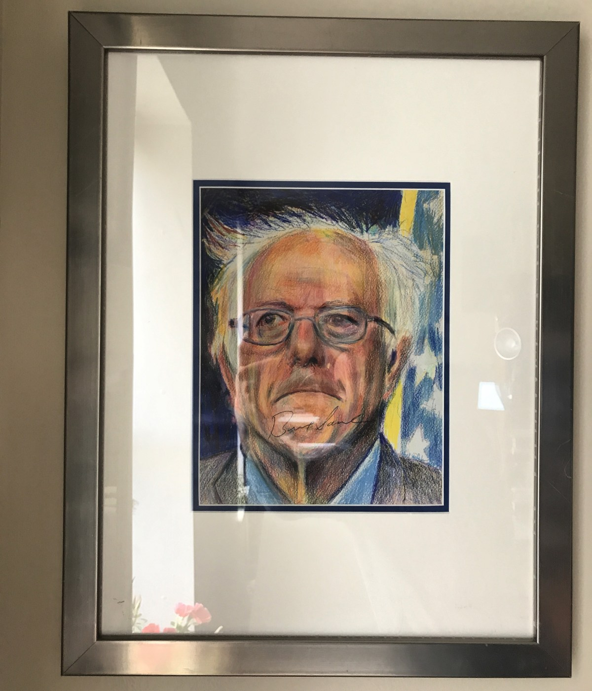 Bernie Sanders autographed a print of my drawing of him.