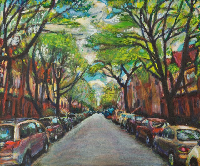 oil painting of rutland road in Brooklyn by Noel Hefele