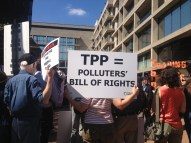 Trans Pacific Partnership protest sign