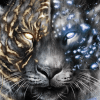 tiger, tigers, snow leopard, snow leopards, leopard, leopards, big cat, big cats, glow, glowing, digital media, graphic, graphic design, animal, animals, wildlife, nature, realism, realistic, noellembrooks, noelle m brooks, noelle brooks, portrait, portraits, portraiture, face, faces, close up, closeup