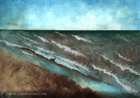 ocean, sea, beach, water, waves, seascape, tropical, landscape, from life, watercolor, watercolors, watercolour, watercolours, painting, paintings, paint, nature, realism, realistic, noellembrooks, noelle m brooks, noelle brooks, art, illustration, illustrations