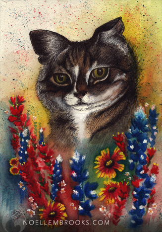cat, cats, kitty cat, kitty cats, cute, wildflowers, wildflower, flower, flowers, bluebonnet, bluebonnets, indian paintbrush, indian paintbrushes, gallardia, gallardias, indian blanket, indian blankets, pet, pets, cute, watercolor, watercolors, watercolour, watercolours, painting, paintings, paint, ink, inks, pen, ballpoint pen, mixed media, drawing, drawings, animal, animals, nature, realism, realistic, noellembrooks, noelle m brooks, noelle brooks, art, illustration, illustrations, portrait, portraits, portraiture