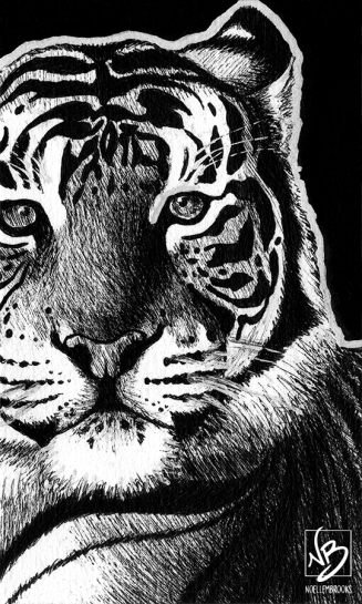 Bengal tiger, tiger, tigers, face, front, frontal, close-up, close up, lying down, resting, ink, inks, pen, pens, ballpoint pen, ballpoint pens, realism, realistic, animal, animals, wildlife, nature, achromatic, black and white, black, white, grey, gray, noelle, noelle brooks, noellebrooks, noelle m brooks, noellembrooks, art, series, drawing, drawings, picture, pictures, illustration, illustrations, portrait, portraits