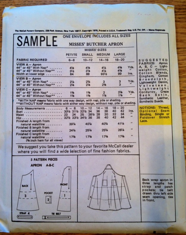 back McCalls apron pattern