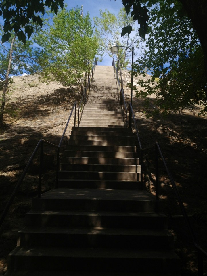stairs to the top of the crater