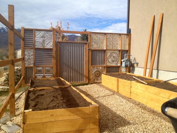 corrugated metal fence back