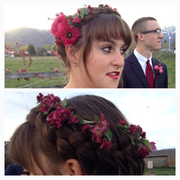 crown braid with apple blossoms