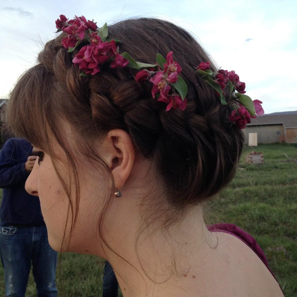 apple blossom hair crown