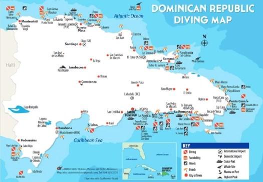 mappa delle immersioni in Repubblica Dominicana