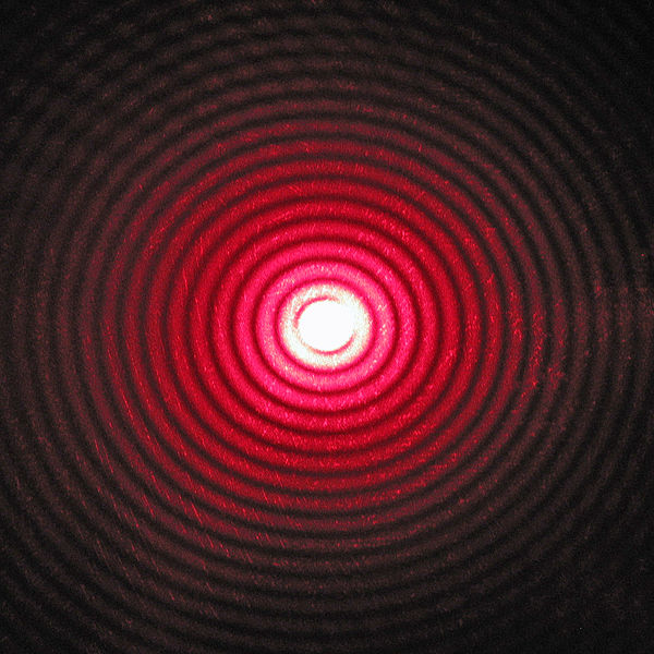Diffraction pattern of red laser beam made on a plate after passing a small circular hole in another plate