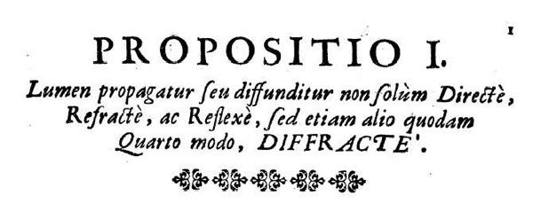 """The definition of """"diffraction"""" in Francesco Maria Grimaldi's treaty De Lumine, 1665"""