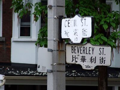 Fig. 4) Street signs in Chinatown. Toronto, 2015