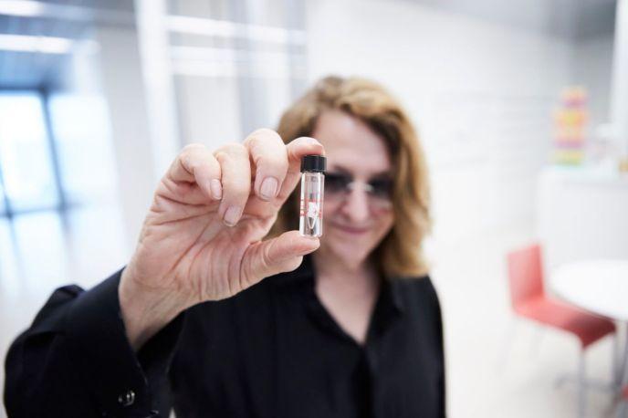 Lynn Hersman with the Lynn Hershman antibody. Photo: Novartis/Laurids Jensen