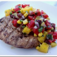 Black Bean Fruit Salsa and Spicy Grilled Chicken