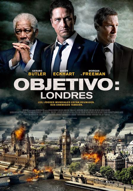Póster español de 'Objetivo: Londres' con Gerard Butler, Aaron Eckhart y Morgan Freeman
