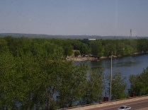 From the Connecticut Convention Center in Hartford, a look down onto the parking lot of Great River Park in East Hartford