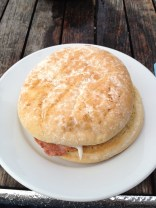 I think this was called a Bacon Bap. It was just about the best breakfast sandwich ever. Thanks to my friend David in Ipswich UK