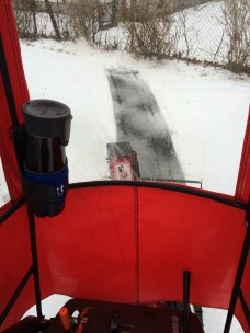 This is an OLD PHOTO - It has not snowed, but I wanted to show the cup holder.