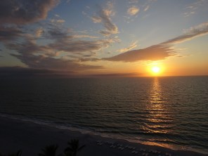 Sunset over the Gulf from Ft. Myers, Florida.