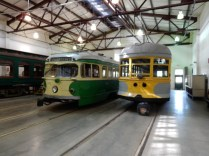 Two of the trolley cars on display