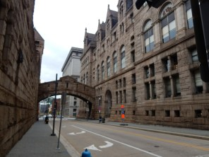 """This is the """"Bridge of Sighs"""" which connects the Allegheny County Courthouse to the County Jail. The design was based on the Bridge of Sighs in Venice."""
