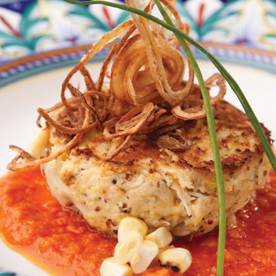 Crispy Crab Risotto with Tomato Coulis