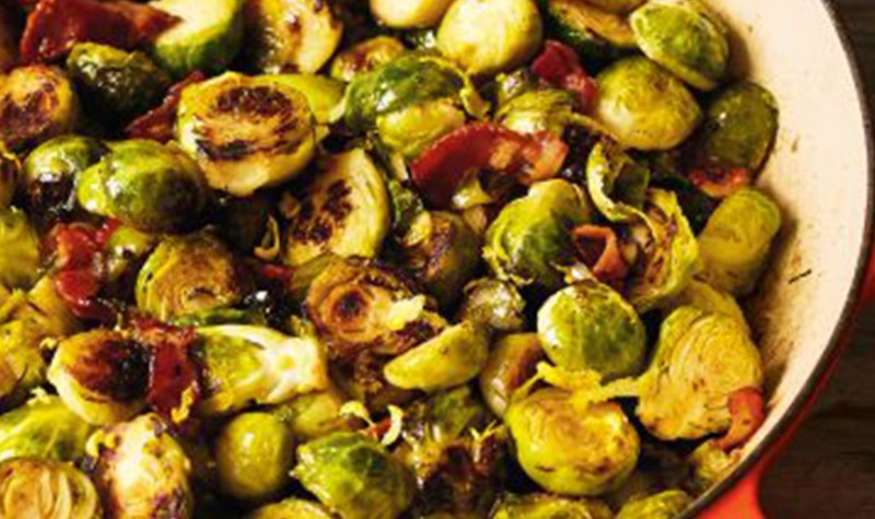 Caramelized Brussels Sprouts with Bacon, Lemon and Thyme