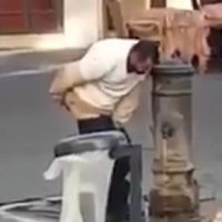 Muslim chef contaminates kitchen with feces by washing his anus at a public drinking fountainwith with his hand, in accordance with Islamic toiletry code