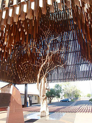 The 'Tree of Knowledge' , Barcaldine Qld, is the historic site where shearers met in 1891 to rally against pastoralists for better conditions,