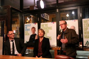 Dr Tim Read, Greens Candidate for Wills, with Janet Rice and Senator Richard Di Natale