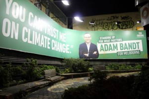 Billboard advertising for Greens MP Adam Bandt in Ftzroy