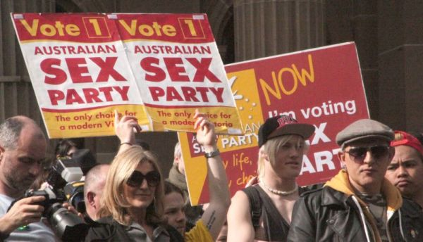 Fiona Patten and Sex Party Supporters at the Equal Love Rally