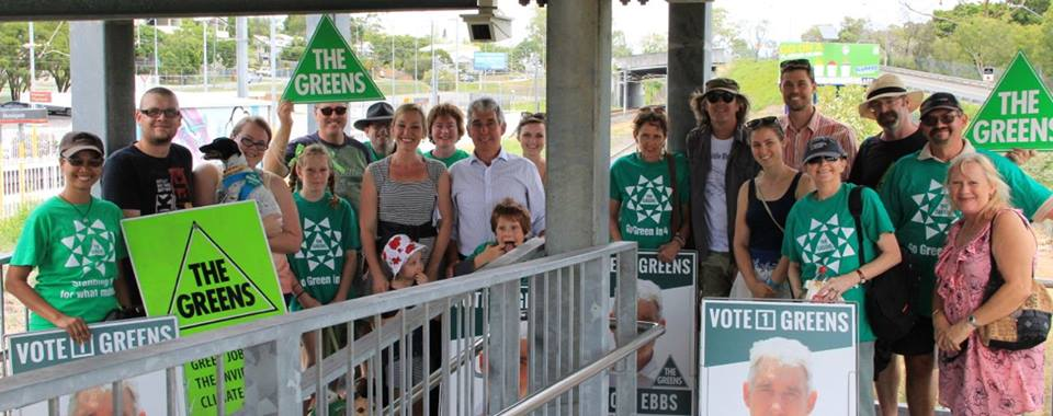 Greens supporters on the coal line at Morningside