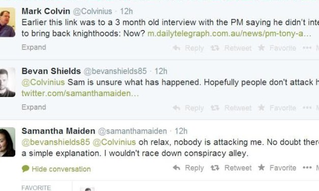 The Tele's disappearing act on Abbott's #KnightsAndDames: @btckr comments